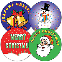 Sheet of 35 Mixed Christmas Images 37mm Circular Stickers
