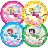 Sheet of 35 Mixed Fairies 37mm Circular Stickers