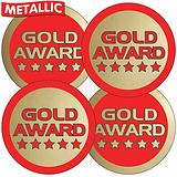 37mm Circular Stickers Sheet of 35 Gold Award Metallic