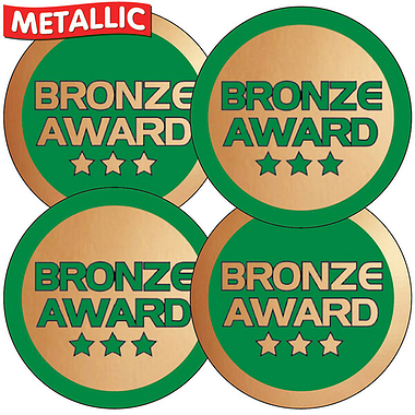 Sheet of 35 Bronze Award Metallic 37mm Circular Stickers