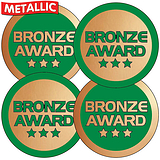 Bronze Award Metallic 37mm Stickers x 35