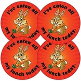 Sheet of 35 Eaten all my Lunch Rabbit 37mm Circular Stickers