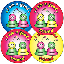 Sheet of 35 I'm a Good Friend Aliens 37mm Circular Stickers