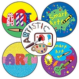 Sheet of 35 Mixed Art 37mm Circular Stickers