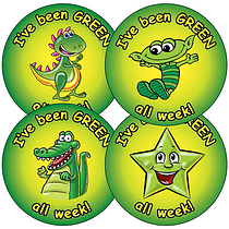 Sheet of 35 Mixed Green all Week 37mm Circular Stickers