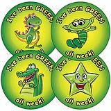Sheet of 35 Mixed Green all Week 37mm Circular Stickers