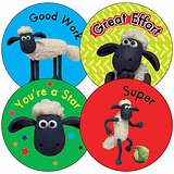 Shaun the Sheep Stickers (35 Stickers - 37mm)