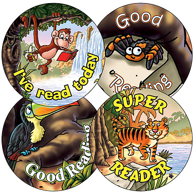 Sheet of 35 Mixed Good Reading Jungle 37mm Circular Stickers