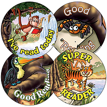 Jungle Stickers - Good Reading (35 Stickers - 37mm)