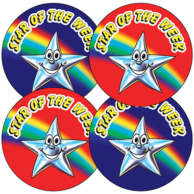Sheet of 35 Mixed Star of the Week 37mm Circular Stickers