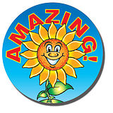 Sheet of 35 Amazing Sunflower 37mm Circular Stickers