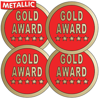Gold Award Metallic 37mm Stickers x 35