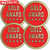Gold Award Metallic 37mm Circular Stickers x 35