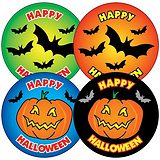 Sheet of 35 Mixed Halloween 37mm Circular Stickers