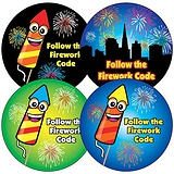 Sheet of 35 Mixed Firework Code 37mm Circular Stickers