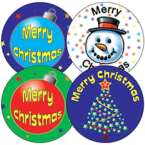 Sheet of 35 Mixed Merry Christmas 37mm Circular Stickers