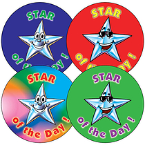 Sheet of 35 Mixed Star of the Day 37mm Circular Stickers