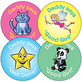 Sheet of 35 Mixed Daddy's Girl 37mm Circular Stickers
