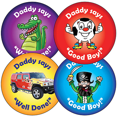 Sheet of 35 Mixed Daddy's Boy 37mm Circular Stickers