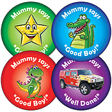 Sheet of 35 Mixed Mummy's Boy 37mm Circular Stickers