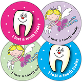 Sheet of 35 Mixed Lost Tooth 37mm Circular Stickers