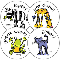Sheet of 35 Mixed Classic Animals 37mm Circular Stickers