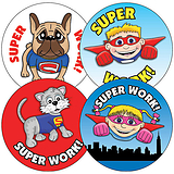 Sheet of 35 Mixed Superhero 37mm Circular Stickers