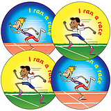I ran a race Stickers - Sports (35 Stickers - 37mm)