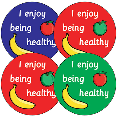Sheet of 35 I Enjoy Being Healthy 37mm Circular Stickers