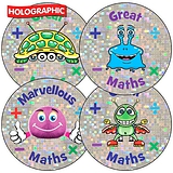 Holographic 'Great Maths' Aliens 37mm Stickers x 35