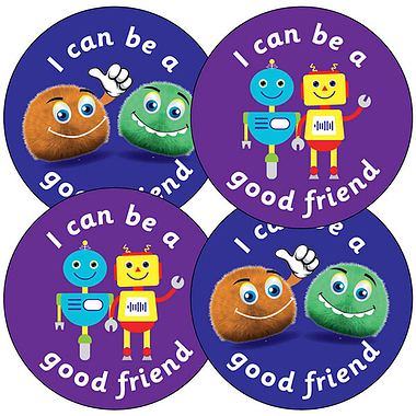 Sheet of 35 I Can Be a Good Friend Fun Bug 37mm Circular Stickers