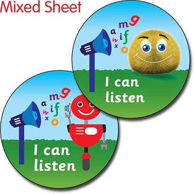 I Can Listen Stickers - Fun Bugs (35 Stickers - 37mm)