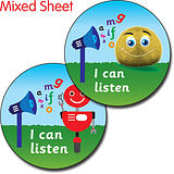 Sheet of 35 I Can Listen Fun Bug 37mm Circular Stickers