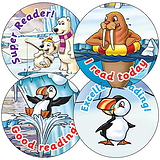 Sheet of 35 Mixed Reading Polar 37mm Circular Stickers