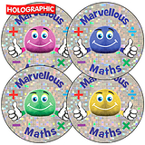 Sheet of 35 Marvellous Maths Fun Bugs Holographic Stickers