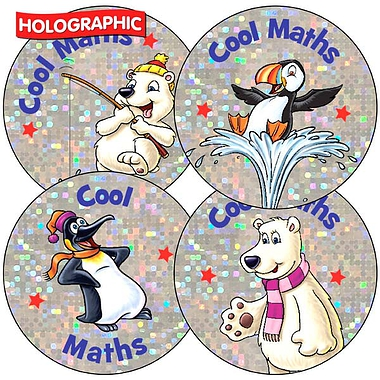 Sheet of 35 Cool Maths Polar Holographic 37mm Stickers