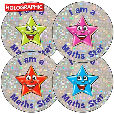 'I am a Maths Star' Holographic 37mm Stickers x 35