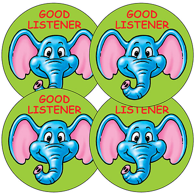 Good Listener Elephant Stickers (35 stickers - 37mm)