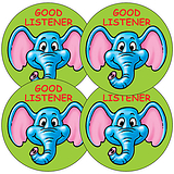 Sheet of 35 Good Listener Elephant 37mm Circular Stickers