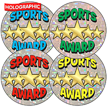 Sheet of 35 Mixed Sports Award Holographic 37mm Stickers