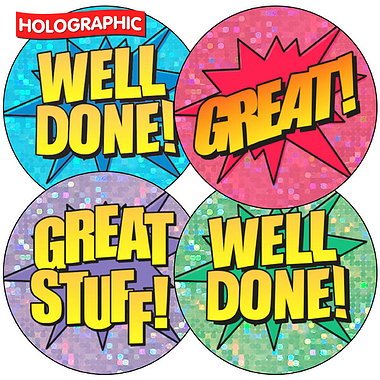 Sheet of 35 Mixed Well Done/Words Holographic 37mm Stickers