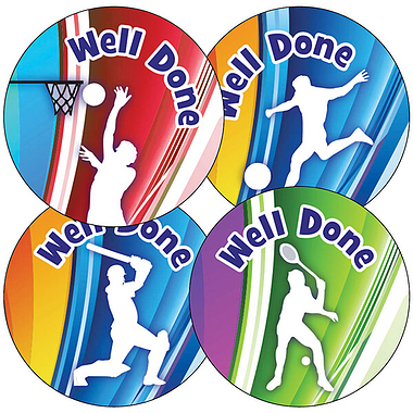 'Well Done' Sports Silhouettes 37mm Stickers x 35