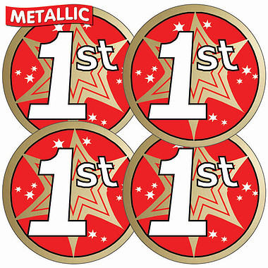 Sheet of 35 First Metallic 37mm Circular Stickers