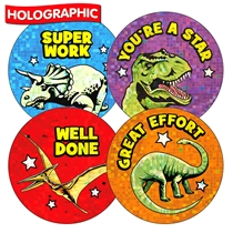 Mixed Wording Dinosaur Holographic 37mm Stickers x 35