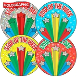 Star of the Week/Day Holographic 37mm Stickers Sheet of 35