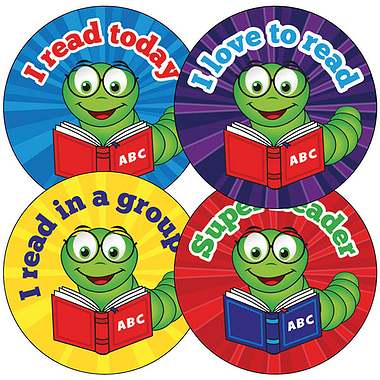 Sheet of 35 Billy Bookworm Reading 37mm Circular Stickers