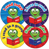 Billy Bookworm Reading Stickers (35 Stickers - 37mm)