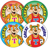 Sheet of 35 Tiger Twins Well Done 37mm Circular Stickers