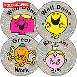 Mr Men Little Miss Holographic Stickers 37mm 35 per sheet