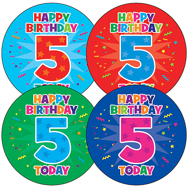 Happy Birthday 5 Today Stickers (35 Stickers - 37mm)